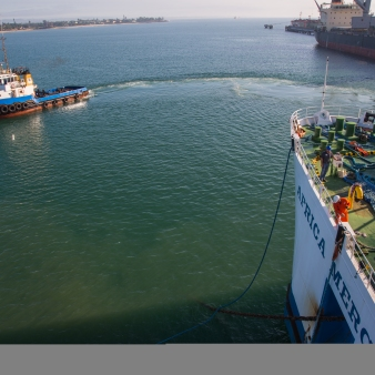 Photo Credit Josh Callow - The Africa Mercy departs from the port of Toamasina, Madagascar.
