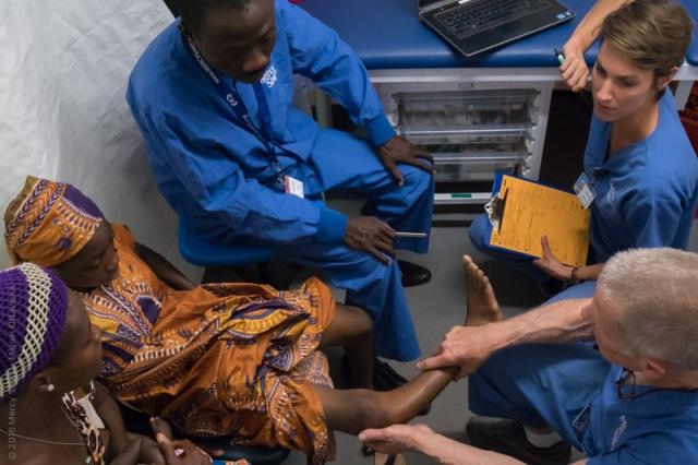 Orthopedic patient, Valeria, at her surgeon screening.