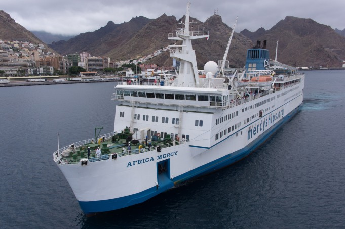 Credit Photo: Mercy Ships; Aerial photos of the Africa Mercy sailing into Tenerife in July 2013